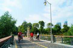Shenzhen Bay Park, cycling tourists Royalty Free Stock Photo