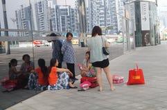 Shenzhen-Bucht-Sportzentrum, das Innenlandschaft aufbaut Stockfoto