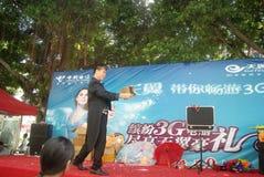 Shenzhen, China: actividades promocionales de la demostración mágica Fotos de archivo