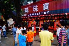 Shenzhen, China: actividades promocionales de la joyería del jade Imagen de archivo