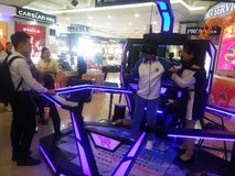 Shenzhen, China: aerospace science and technology experience activities, model space equipment. At night, shopping center, aerospace science and technology stock photos