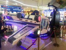 Shenzhen, China: aerospace science and technology experience activities, model space equipment. At night, shopping center, aerospace science and technology stock photography