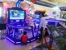 Shenzhen, China: aerospace science and technology experience activities, model space equipment. At night, shopping center, aerospace science and technology royalty free stock images