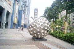 Shenzhen, China: apple shaped sculpture landscape Stock Image