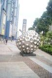 Shenzhen, China: apple shaped sculpture landscape Stock Photography