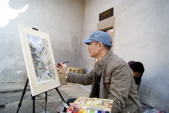 Shenzhen, china: artists in painting Royalty Free Stock Images