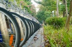 Shenzhen, China: as fileiras de bicicletas compartilhadas estacionaram no passeio Imagens de Stock