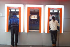 Shenzhen, China: In the atm machine withdrawals Stock Image