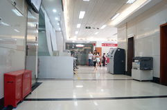 Shenzhen, China: banking lobby and window service Stock Photos