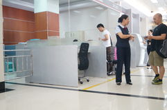 Shenzhen, China: banking lobby and window service Royalty Free Stock Image