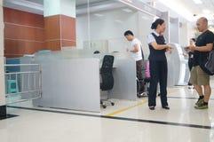 Shenzhen, China: banking lobby and window service Royalty Free Stock Image