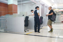 Shenzhen, China: banking lobby and window service Stock Photos