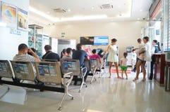 Shenzhen, China: bankzaal stock fotografie