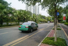 Shenzhen, China: baoan road and the pavement landscape Royalty Free Stock Photo