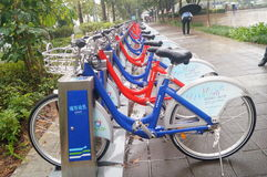Shenzhen, China: Bicycle hire facilities Stock Images