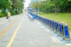Shenzhen, China: Bicycle rental facilities Stock Photos