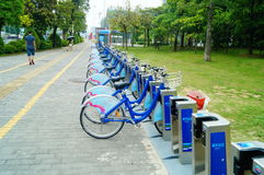 Shenzhen, China: Bicycle rental facilities Stock Image