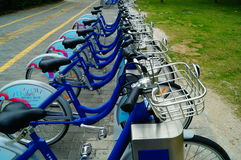 Shenzhen, China: Bicycle rental facilities Stock Images