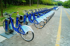 Shenzhen, China: Bicycle rental facilities Royalty Free Stock Photo
