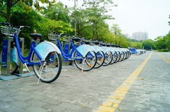Shenzhen, China: Bicycle rental facilities Royalty Free Stock Photography