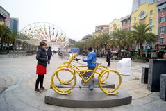 Shenzhen, China: bicycle sculpture landscape Royalty Free Stock Image
