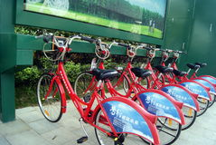 Shenzhen china: bike rental Royalty Free Stock Photos
