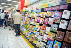 Shenzhen, china: bookstore to buy books. In December 1st, 2013, Shenzhen Xixiang Carrefour supermarket, bookstore counters, people in the purchase of books Stock Image