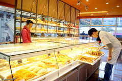 Shenzhen china: bread cake shop. December 27, 2012, shenzhen xixiang age commercial plaza, the new open bread cake shop royalty free stock photo