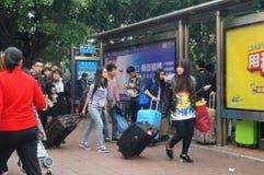 Shenzhen, China: bus drop station Stock Photography