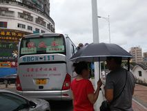 Shenzhen, China: bus for voluntary blood donation Stock Photo