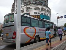 Shenzhen, China: bus for voluntary blood donation Royalty Free Stock Photo