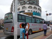Shenzhen, China: bus for voluntary blood donation Royalty Free Stock Images