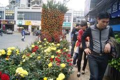 Shenzhen, China: buy flowers miniascape Royalty Free Stock Photo