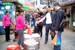 Shenzhen china: buy local snacks Stock Images