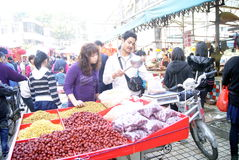 Shenzhen china: buy red jujube and grapes Royalty Free Stock Photography