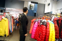Shenzhen, china: buy winter clothes Stock Image
