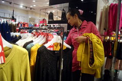 Shenzhen, china: buy winter clothes Royalty Free Stock Image