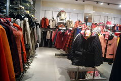 Shenzhen, china: buy winter clothes Stock Images