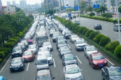 Shenzhen, China: Car congestion in Baoan Avenue Royalty Free Stock Image