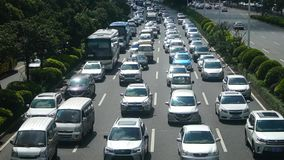 Shenzhen, China: Car congestion in Baoan Avenue stock video