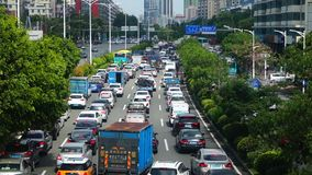 Shenzhen, China: Car congestion in Baoan Avenue stock video footage