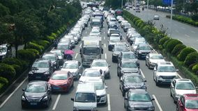 Shenzhen, China: Car congestion in Baoan Avenue stock footage