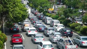 Shenzhen, China: Car congestion in Baoan Avenue. In the morning, the traffic jam was on Baoan Avenue. The traffic is slow stock video footage