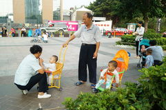 Shenzhen, China: care for grandchildren Royalty Free Stock Images