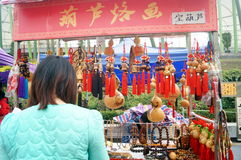 Shenzhen, China: carving crafts sales Stock Photo