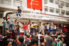 Shenzhen, China: children climbed up the fire truck Stock Image