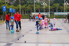 Shenzhen, China: children practice roller skating Royalty Free Stock Images