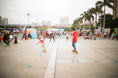 Shenzhen, China: children are skating Royalty Free Stock Images