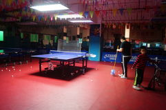 Shenzhen, China: Children Table Tennis Training Royalty Free Stock Images
