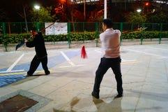 Shenzhen, China: Chinese people practicing martial arts night Stock Photo